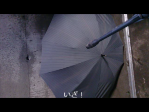 撥水加工傘と高圧洗浄機